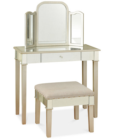 morgen makeup vanity with trifold mirror direct ship furniture macy 39 s. Black Bedroom Furniture Sets. Home Design Ideas