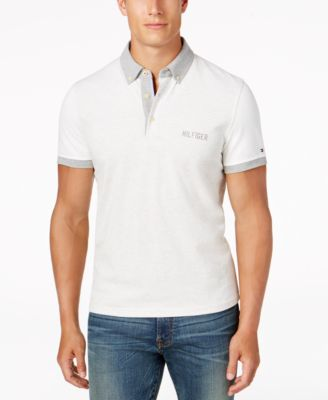 TOMMY HILFIGER Men'S Classic-Fit Miles Colorblocked Polo in Ice Grey Heather