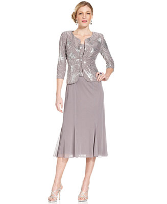 Alex Evenings Petite Sleeveless Sequin Midi Dress And