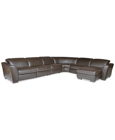 Alessandro 6 Piece Leather Sectional With Chaise Amp 2 Power
