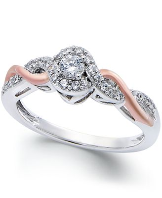 Diamond Twist Promise Ring In Sterling Silver And 14k Rose