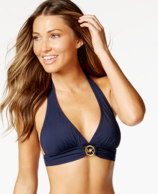 michael michael kors logo ring halter bikini top swimwear women macy 39 s. Black Bedroom Furniture Sets. Home Design Ideas