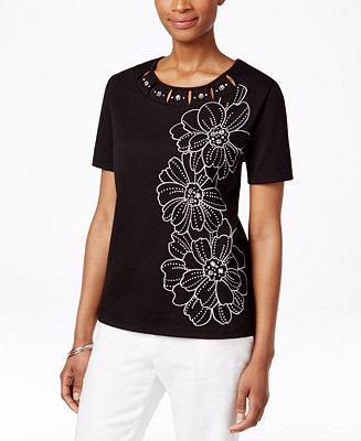 Alfred dunner petite embroidered embellished t shirt for Alfred dunner wedding dresses