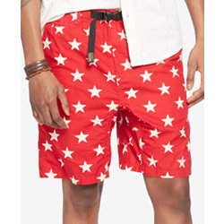 Denim & Supply Ralph Lauren Mens Star-Print Hiking Chino Shorts in Vic Red Star Combo