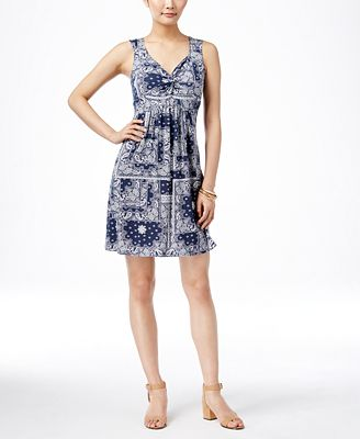Style & Co. Printed Twist-Front Dress, Only at Macy's