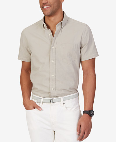 Nautica men 39 s seersucker short sleeve shirt casual for Mens short sleeve seersucker shirts