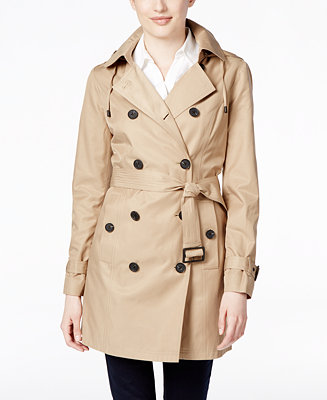 michael michael kors petite double breasted hooded trench coat coats women macy 39 s. Black Bedroom Furniture Sets. Home Design Ideas