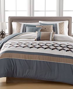 Beckett Embroidered 7-Piece Queen Comforter Set (Blue/Tan/Ivory)