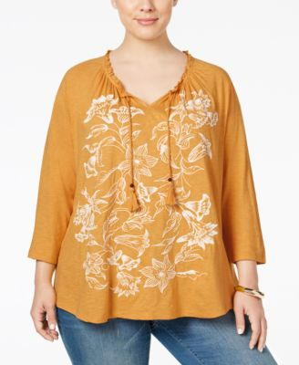 Style & Co. Plus Size Embroidered Peasant Top, Only at Macy's