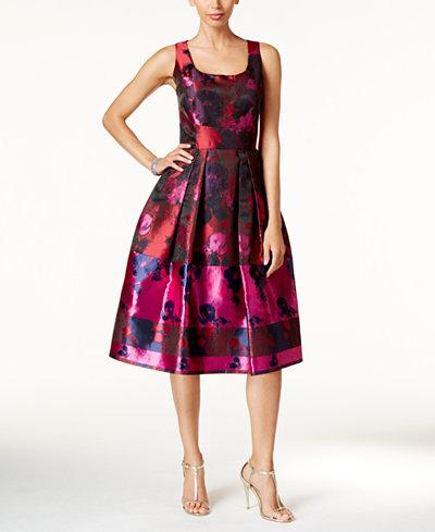 Ivanka Trump Floral Print Fit Amp Flare Dress Dresses