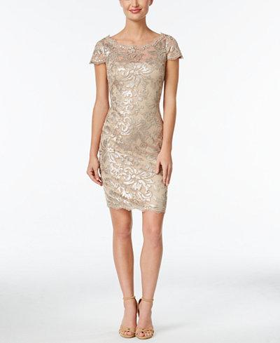 Calvin Klein Sequined Lace Illusion Sheath Dress - Dresses ...