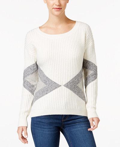 calvin klein jeans geometric pattern ribbed sweater. Black Bedroom Furniture Sets. Home Design Ideas