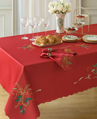 Lenox holiday nouveau cutwork 60 x 120 tablecloth for 120 table runner christmas