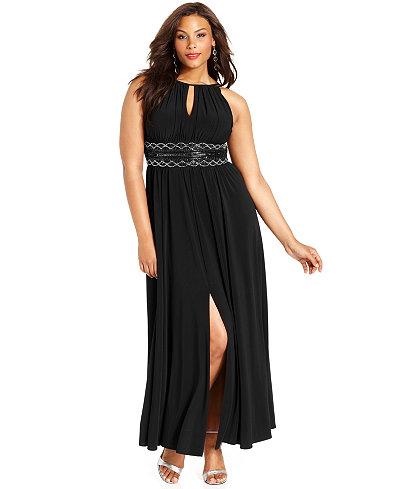 R Amp M Richards Plus Size Sleeveless Beaded Gown Dresses