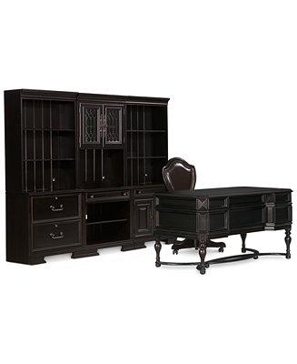 Goodwin Ebony 8 Pc Home Office Set Desk Chair 2