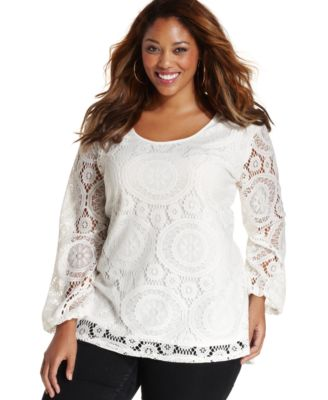 ING Trendy Plus Size Long-Sleeve Lace Top