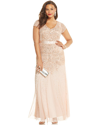 Adrianna papell plus size embellished gown dresses for Macy s wedding dresses plus size