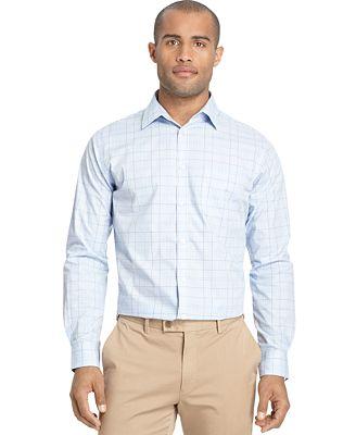 Van heusen long sleeve no iron shirt casual button down for No iron shirts mens