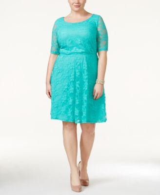 Love Squared Trendy Plus Size Short-Sleeve Lace A-Line Dress