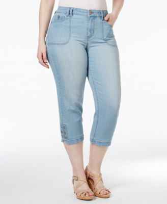 Style & Co. Plus Size Tummy-Control Blossom Wash Capri Jeans, Only at Macy's