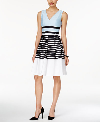 Anne Klein Striped Fit Amp Flare Dress Dresses Women