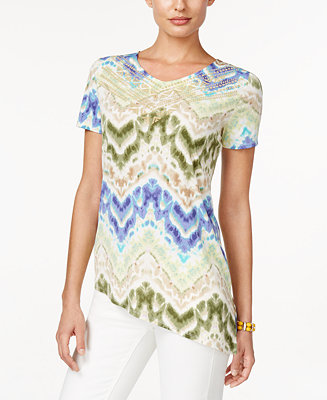 Alfred dunner cyprus collection short sleeve printed top for Alfred dunner wedding dresses