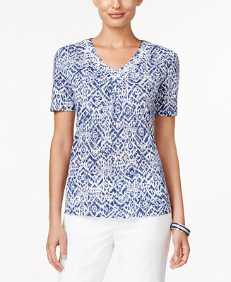 Alfred dunner st augustine collection printed beaded top for Alfred dunner wedding dresses