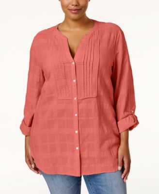 JM Collection Plus Size Tonal-Plaid Shirt, Only at Macy's