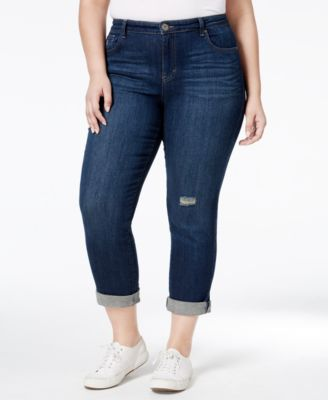 Style & Co. Plus Size Distressed Field Wash Boyfriend Jeans, Only at Macy's