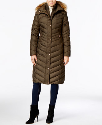 Marc New York Hooded Faux Fur Trim Long Down Puffer Coat