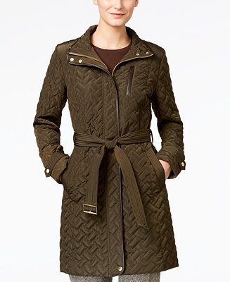 Cole Haan Faux Leather Trim Belted Quilted Coat Coats
