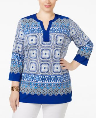 Charter Club Plus Size Scarf-Print Tunic, Only at Macy's