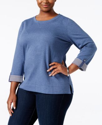 Karen Scott Plus Size Tab-Sleeve Sweatshirt, Only at Macy's