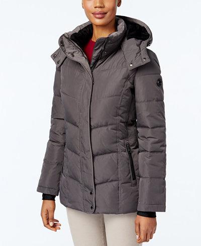 Calvin Klein Fleece Lined Water Resistant Hooded Puffer