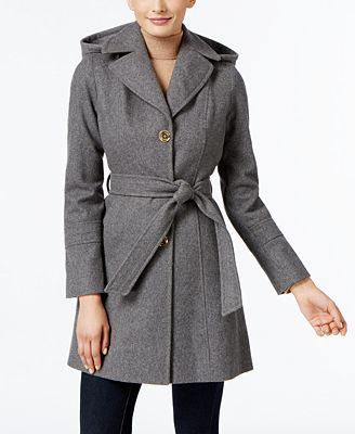 MICHAEL Wool-Blend Hooded Coat, Only at Macy's