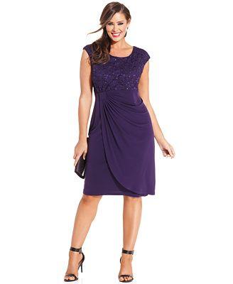 Connected Plus Size Sequin Lace Faux Wrap Dress Women