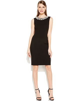Calvin Klein Petite Beaded Sheath Dress - Dresses - Women - Macyu0026#39;s