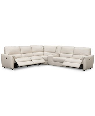 Hansin 6 Piece Leather Sectional With 3 Power Motion