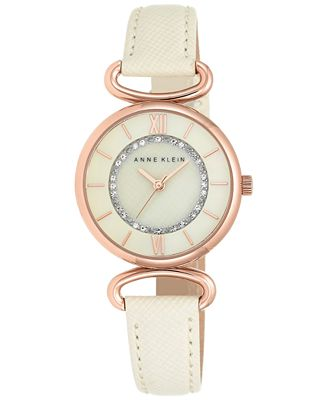 Anne klein women 39 s ivory leather strap watch 32mm ak 2192rgiv watches jewelry watches macy 39 s for Anne klein leather strap