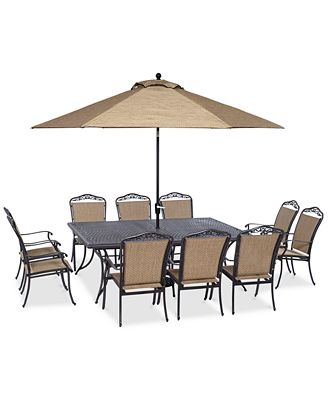 """Beachmont II Outdoor 11-Pc. Dining Set (84"""" x 60"""" Dining Table and 10 Dining Chairs)"""