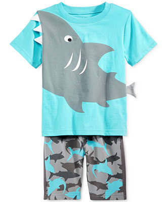 Nannette Baby Boys 2 Piece Shark T Shirt & Shorts Set