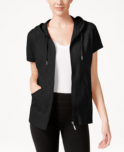 Style Amp Co Short Sleeve Zip Front Hoodie Only At Macy S