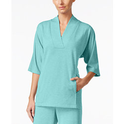 Nautica Shawl-Collar Pajama Top - Aqua
