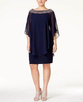 Xscape Plus Size Beaded Chiffon Capelet Dress Dresses