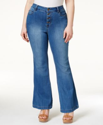 Celebrity Pink Plus Size Button-Front Flare Wash Jeans