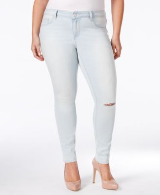 Jessica Simpson Plus Size Ascott Wash Ripped Skinny Jeans