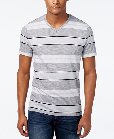 Alfani men 39 s big and tall multi stripe slim fit v neck t for Slim and tall shirts