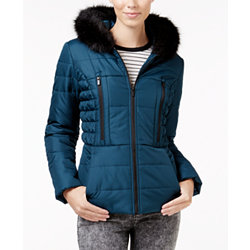 Celebrity Pink Womens Faux-Fur Trimmed Hooded Puffer Coat (Multi Colors)