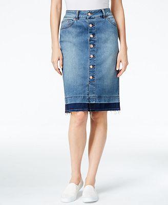 jag button front denim pencil skirt skirts macy s