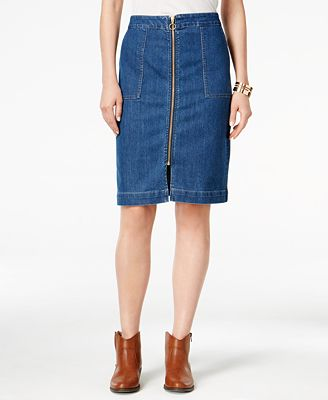 style co zip front denim skirt only at macy s skirts